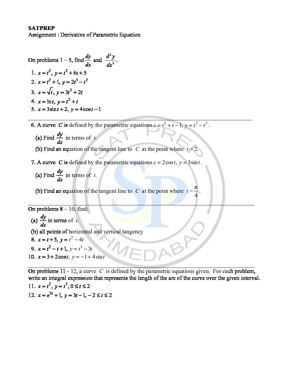 Worksheets Parametric Equations Worksheet derivative of parametric equation sat prep equation