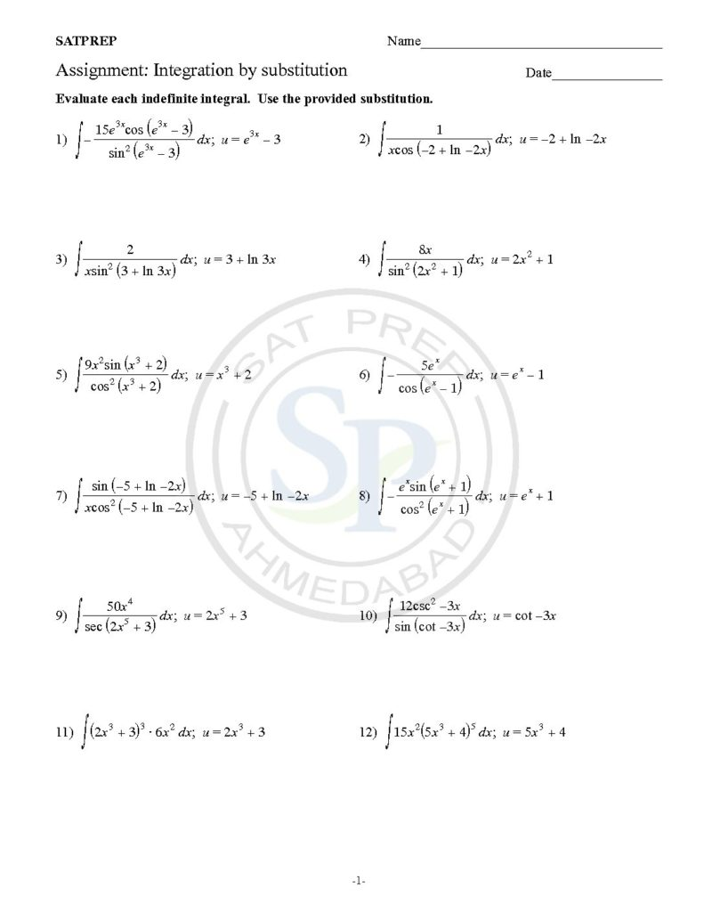 This Post Is About Worksheet Of Integration By