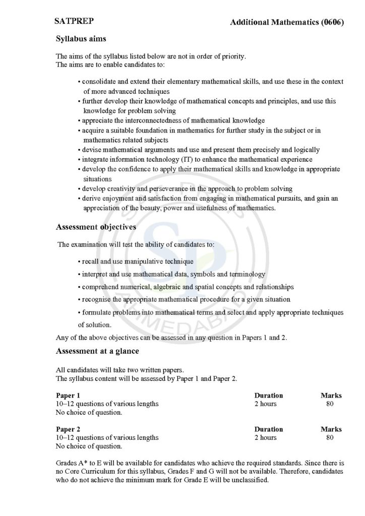 details of add Mathematics for IGCSE course in cambridge board