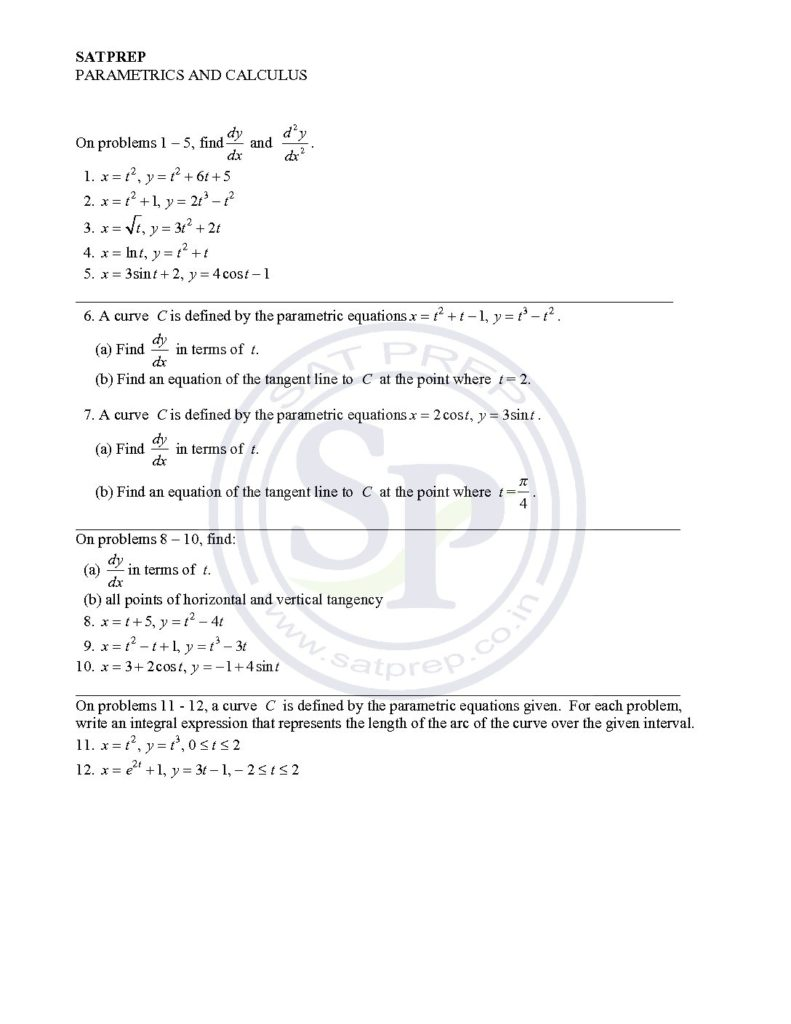 Parametric Equation is part of AP calculus , A-level and SAT Math