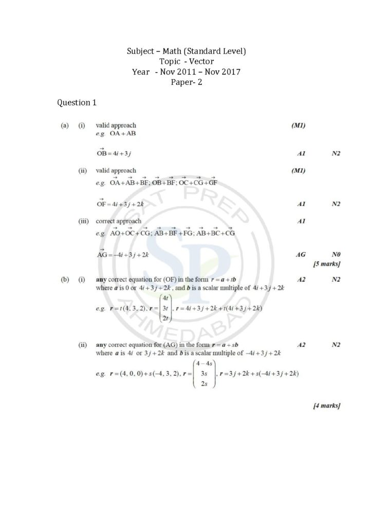 Solutions Of Questions Of Vector From IBDP Math SL Past Paper