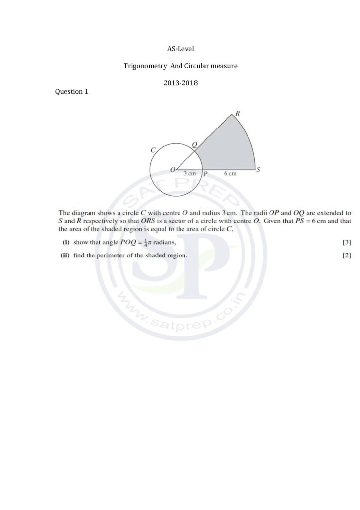 Questions of circular measure from AS-level Pure Math Paper